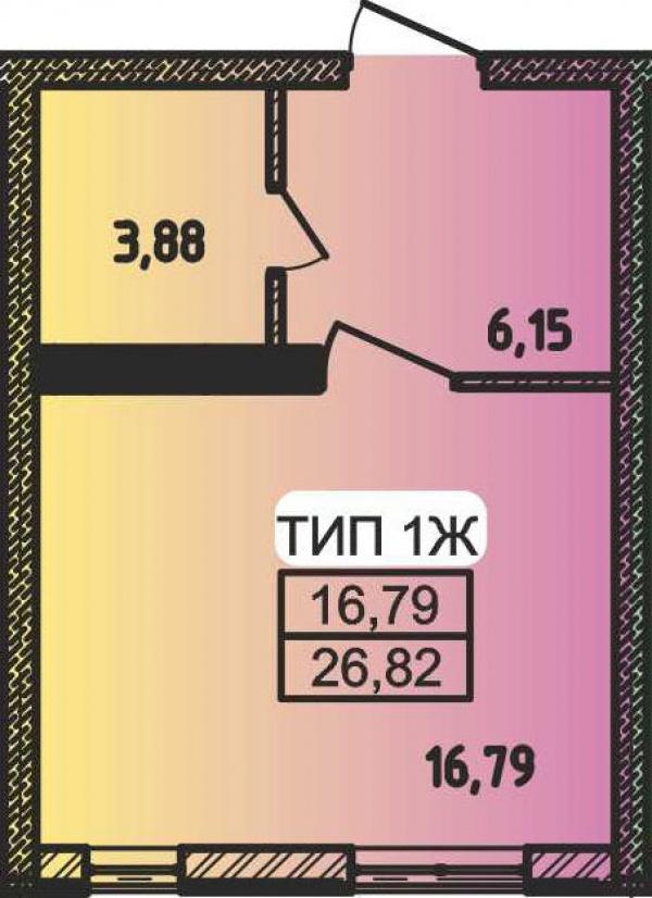Планировки однокомнатных квартир 26.82 м^2